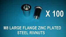 100X STEEL ZINC PLATED RIVNUTS M8 NUTSERT RIVET NUT LARGE FLANGE NUTSERTS RIVNUT