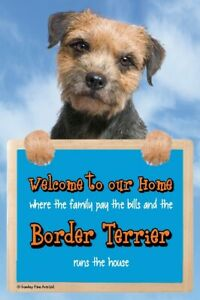 Border Terrier dog sign BORDER TERRIERS Welcome to our Home sign funny sign dogs