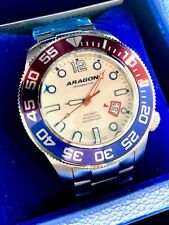 ARAGON Divemaster 3 Automatic Pepsi Red White Blue Watch 45mm A337WHT Brand New!
