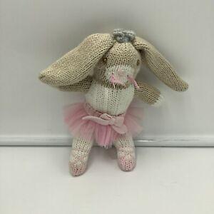"Zubels Betsie The Ballerina Bunny Rabbit Knit Plush Rattle Soft Toy Stuffed 7"""