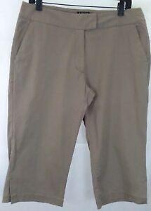 Adidas womens 10 Capri Pants tan cotton stretch golf EUC