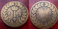 1 decime à l'L - 1815BB le plus rare - sans points - sans accent - Rareté R1