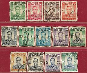 Southern Rhodesia 1937 set of 13 GVI sg 40-52 used,