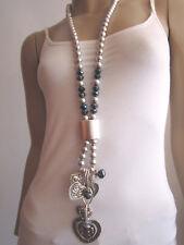 Modekette lang Damen Hals Kette Lagenlook Silber Grau Herz Charms Edel u7197