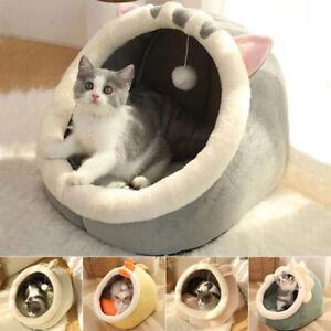 Cat Bed Warm Pet Basket Kitten Lounger Cushion House Tent Mat Bag Washable Cave