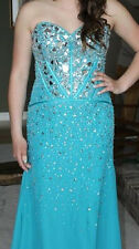 Teal Blue Fitted Strapless Jeweled Prom Formal Gown Bridesmaid Dress 10 12 $710