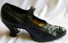 Antque 1910s Black Leather Shoes Heels Size 6 Edwardian