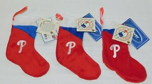 Philadelphia Phillies Christmas Ornament Santa mini Stocking x3 NWT baseball MLB