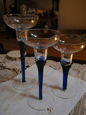 Partylite/ set of 3 Blue/Green/ stem/ candle holders/