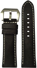 24x22 RIOS1931 for Panatime Rough Black Vintage Leather Watch Strap for Panerai