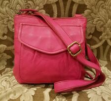 FOSSIL pink distressed leather top zip crossbody purse adjustable shoulder bag