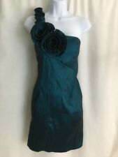 POETRY Cocktail Dress Large Green One Shoulder Flower Above Knee Length Mini