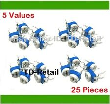 Preset- Trimpot- Tripot- Trimmer- Potentiometer- Assorted Kit 5-Values 25-Pieces
