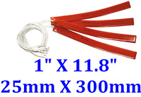 "1"" X 11.8"" 25 X 300mm 12V 10W w/ 3M JSRGO CE UL Silicone Rubber Heaters 4 PCs"