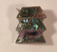 Silver Abalone Pin Brooch Vintage Taxco Mexican Sterling