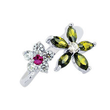 .925 Sterling Silver One Size Fits All Cz Multi Color Flower Toe Ring Real Solid
