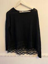 Black Lace Edged Crop Jumper Size 16 By NINE