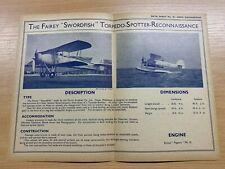 FAIREY SWORDFISH TORPEDO-SPOTTER-RECONN 1930s AERO ENGINEERING #25 DATA SHEET