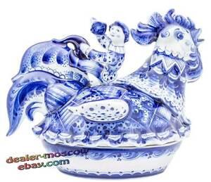 Russian Porcelain Author Gzhel Hand Painted Ware Butterdish Buffoons