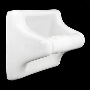 TOILET PAPER TISSUE HOLDER, WHITE PORCELAIN W/ROLLER, TILE-IN OR WALL MOUNT, NEW