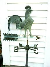 Vintage Copper Rooster Weather Vane With Weathered Patina 3 Dimensional