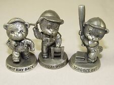 3 Avon Pewter Figures,Teddy Bear Hard at Work;Schools Out;First Day Back 1983-84