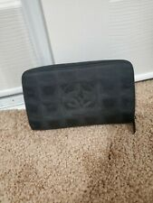 CHANEL Purse New Travel line nylon × leather black zippy wallet