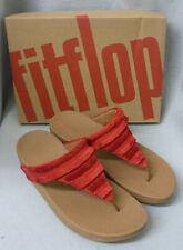 Fitflop Lottie Fringe Adrenaline Red Toe Post Sandals Canvas Ladies Box Size 6