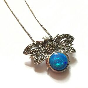 Blue Opal Marcasite Bee Pendant Pin Necklace Sterling Silver October Birthstone