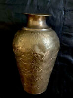 "Large Vintage Solid Brass Vase Hammered  -Made In India 15""tall"