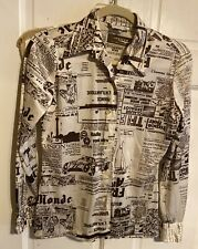 New listing Vintage 70s Women's Art Print Jersey Top Blouse Solo's by Country Set Xs~Clean