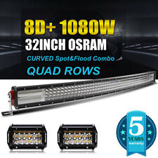 "8D+ Quad Row 32Inch 1080w Curved LED Light Bar + 2pc 4.7"" 108W Flood BEAM VS 7D+"