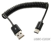 3ft USB-3.1 Type-C Male to USB-2.0 Type-A Male Coiled Cable, USBC-C203X