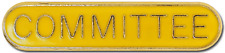 Committee Pin Badge in Yellow Enamel With Rounded Edge