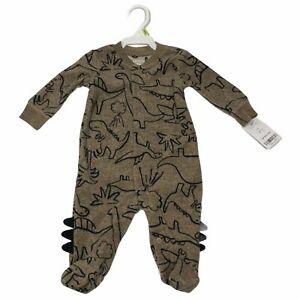 Carters Baby Boy One Piece Pajama Size 3 Months Dinosaur Brown Navy Snap Up NEW