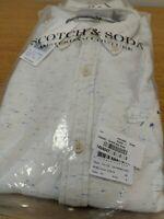 Scotch & Soda Mens LS Small White/ Blue Multi Shirt Cotton Ref HV14
