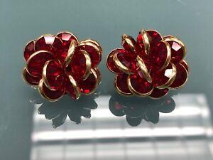 Swarovski Red Flower Crystal Earrings