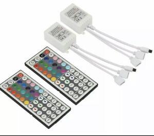 2X 2-Port 44 Key IR Remote Controller 12V For 3528 5050 RGB LED Strip Light