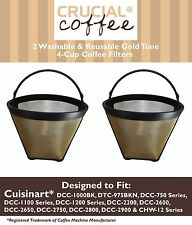 2 Washable Cuisinart GTF-4 Gold Tone Coffee Filters Cuisinart 4-Cup Coffeemakers