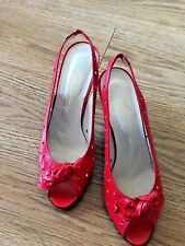 New Oleg Cassini Womens Model Open-Toe Sandals Leather Red Color Size 9M Heel 4""