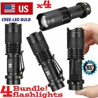 4 Pack 1000Lumens 5 Modes Zoomable LED 18650 Flashlight Torch Lamp Light