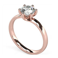 2.00 Ct Round Cut Diamond Engagement Wedding Ring 14K Real Rose Gold Size 4.5 5