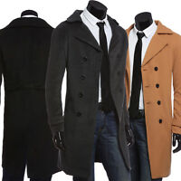 Mens Winter Wool Long Pea coat Double Breasted Trench Coat Jacket Overcoat Tops