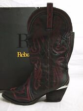 Reba 6.5 M Backstage Black Leather Mid Calf Cowboy Boots New Womens Shoes NWOB