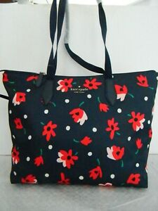NWT KATE SPADE NEW YORK MEL WHIMSY FLORAL PACKABLE TOTE W/WRISTLET WKR00628