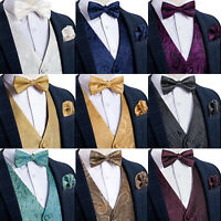 DiBanGu Men Paisley Floral Solid Waistcoat Suit Vest Bow Tie Hanky Cufflinks Set
