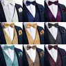 Men's Paisley Floral Solid Waistcoat Suit Vest Silk Bow Tie Hanky Cufflinks Set