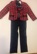 Hartstrings preppy 4 piece set plaid jacket pants sweater shirt top vest 6x red