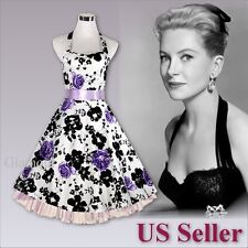 Women's 50s Style Party Wedding Holiday Pinup Swing Retro Halter Dress