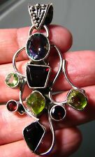 925 silver unusual cut mystic topaz & gemstones pendant.
